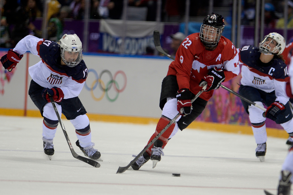 . Hayley Wickenheiser (22) of the Canada controls the puck against the U.S.A. the second period of the women\'s gold medal ice hockey game. Sochi 2014 Winter Olympics on Thursday, February 20, 2014 at Bolshoy Ice Arena. (Photo by AAron Ontiveroz/ The Denver Post)