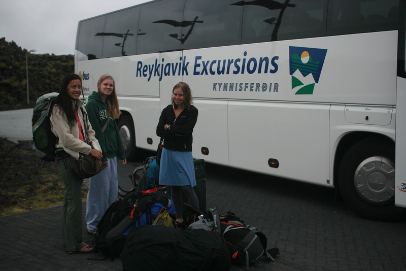 Ready to board the bus to Reykjavik after soaking in the Blue Lagoon on our way to the city from the airport.