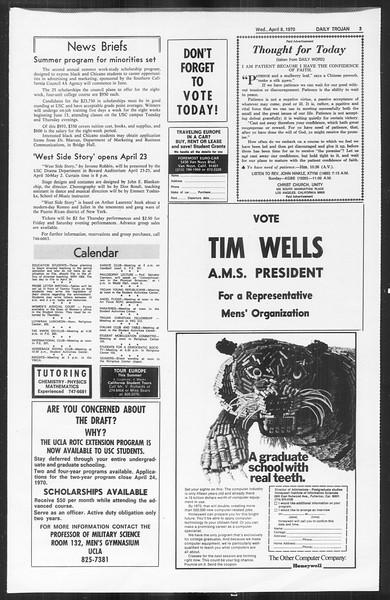 Daily Trojan, Vol. 61, No. 101, April 08, 1970