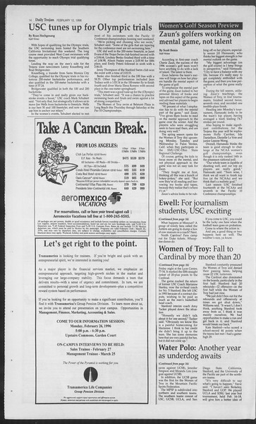 Daily Trojan, Vol. 127, No. 21, February 12, 1996