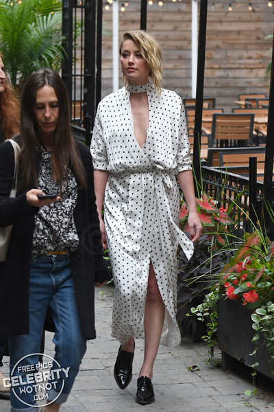 Amber Heard Fashions Butterfly-Inspired Silk Dress in Toronoto, Canada