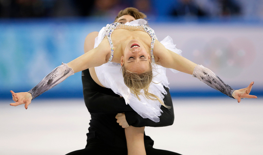 . Pernelle Carron and Lloyd Jones of France compete in the ice dance free dance figure skating finals at the Iceberg Skating Palace during the 2014 Winter Olympics, Monday, Feb. 17, 2014, in Sochi, Russia. (AP Photo/Darron Cummings)