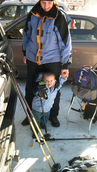 Kelly ready to go snowshoeing CA USA