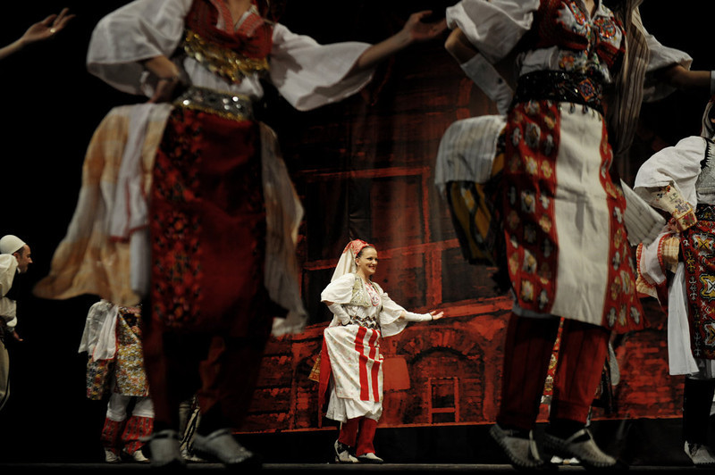 """. Members of the National state song and dance Ensemble \""""Shota\"""" perform at the national theatre in Pristina on February 15, 2013. Kosovo will mark the fifth anniversary of its unilateral declaration of independence from Serbia on February 17. ARMEND NIMANI/AFP/Getty Images"""