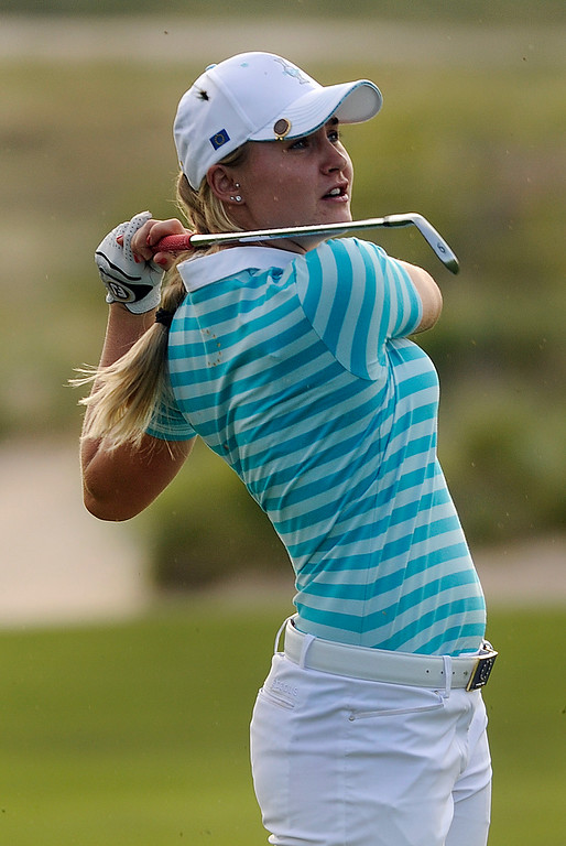 . PARKER, CO. - AUGUST 17: English golfer Charley Hull watched her approach shot on the 18th hole Saturday at the Solheim Cup. It was the American Team versus the Europeans as play continued at the Colorado Golf Club Saturday afternoon, August 17, 2013. Photo By Karl Gehring/The Denver Post