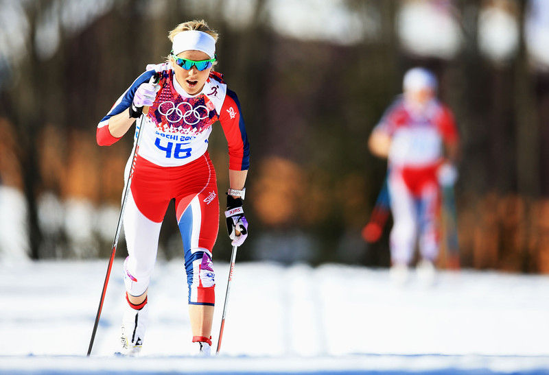 . Therese Johaug of Norway competes in the Women\'s 10 km Classic during day six of the Sochi 2014 Winter Olympics at Laura Cross-country Ski & Biathlon Center on February 13, 2014 in Sochi, Russia.  (Photo by Richard Heathcote/Getty Images)