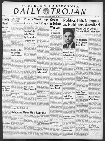 Daily Trojan, Vol. 32, No. 101, March 14, 1941