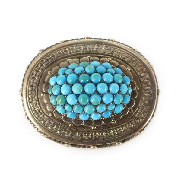Antique Victorian Silver Pavé Set Turquoise Etruscan Brooch