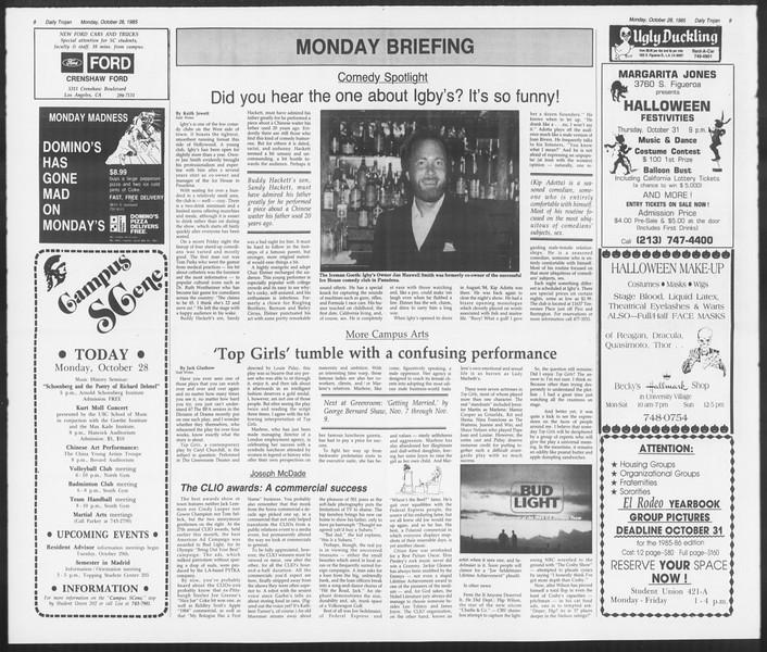 Daily Trojan, Vol. 100, No. 40, October 28, 1985