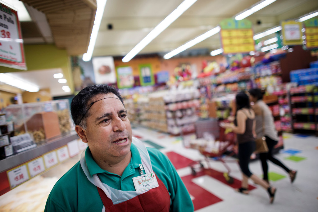 . NAME TO COME at Mi Pueblo Food Center speaks to this newspaper on July 24, 2013 in San Jose. The Bay Area supermarket chain filed for Chapter 11 bankruptcy protection Monday, citing a dispute with its primary lender, Wells Fargo. (Dai Sugano/Bay Area News Group)
