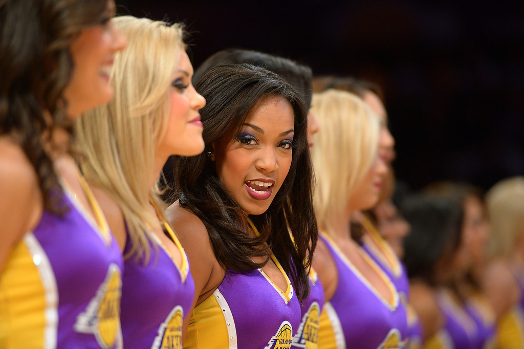 . The Laker Girls lineup before the game, Friday, December 20, 2013, at Staples Center. (Photo by Michael Owen Baker/L.A. Daily News)