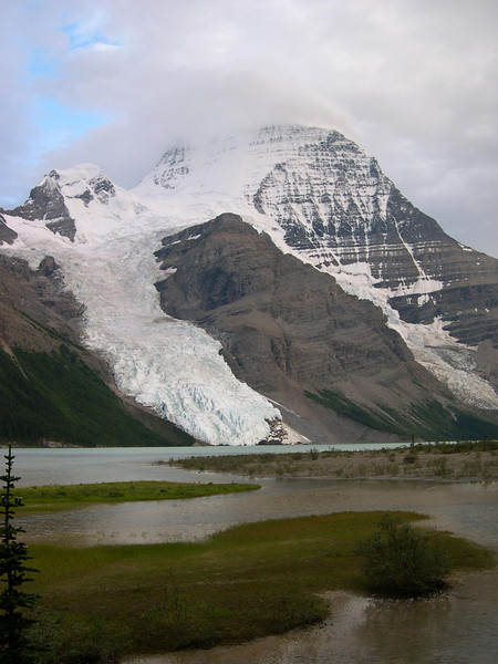 Mount Robson: View of the mountain on the way back to camp from Snowbird Pass.