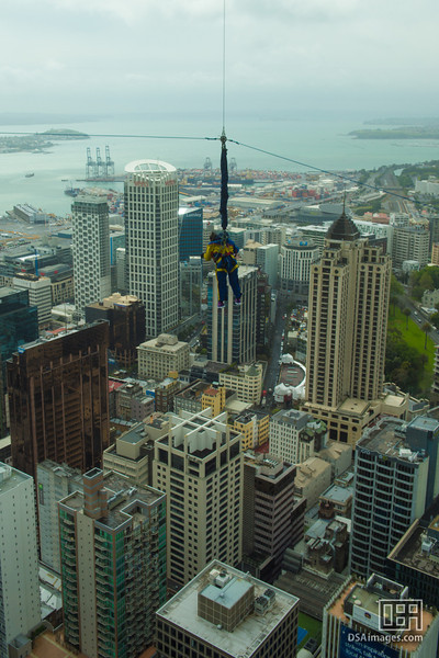 Crazy person jumping off the Auckland Sky Tower