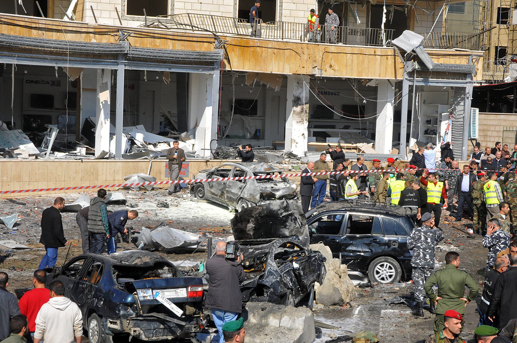 . A general view of the site of a large explosion near the Kuwaiti Embassy and Iran\'s Chancellery center, in Beir Hassan area at southern suburbs of Beirut, Lebanon, 19 February 2014.  EPA/WAEL HAMZEH