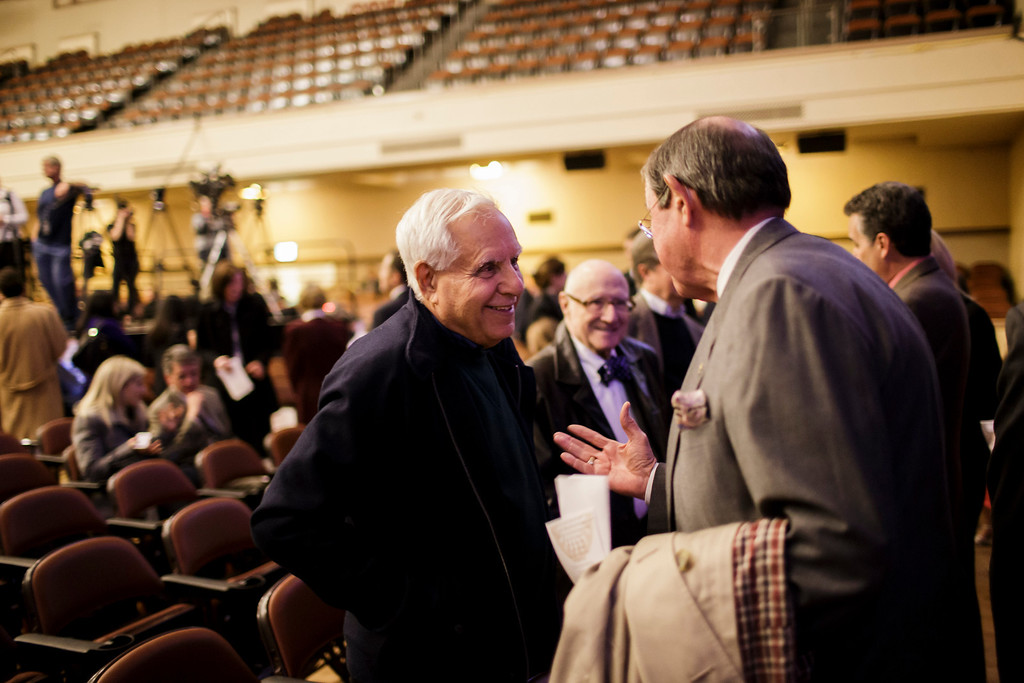 . Oakland A\'s owner Lew Wolff, center, and Santa Clara County Assessor, Larry Stone, right, talk before the 2013 State of the City Address at the San Jose Civic Auditorium on Feb. 7, 2013. (Dai Sugano/Staff)