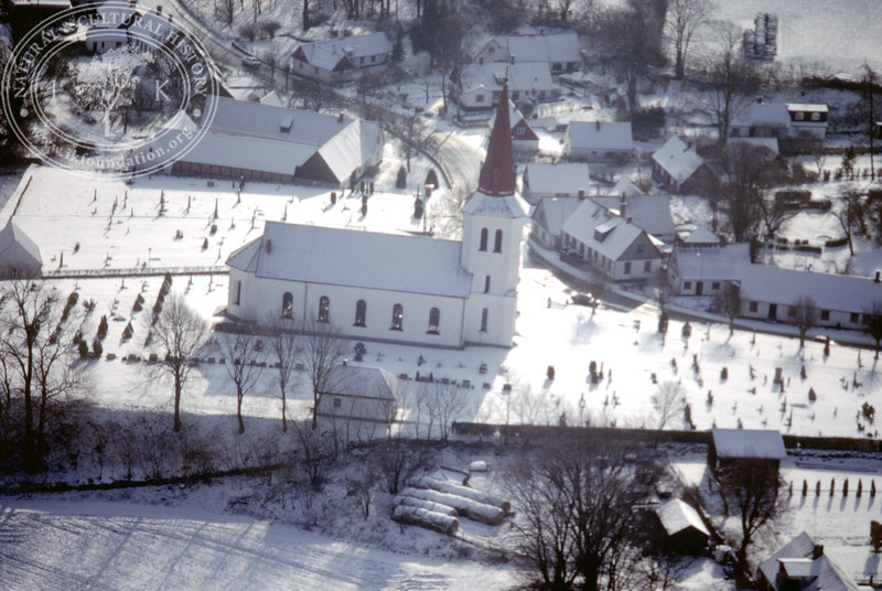 Södra Rörum church and village (20 February, 1988). | LH.0189