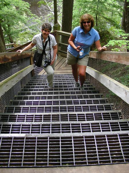 Karen and Lexi climb the stairs.