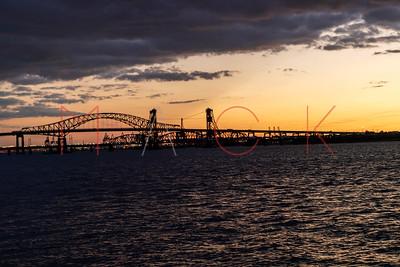 Jersey City, NJ - September 18:   Sunset over the Hackensack River, Jersey City, USA