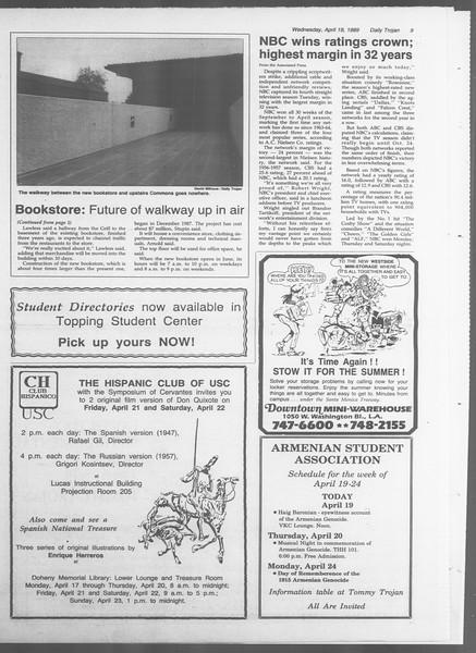 Daily Trojan, Vol. 108, No. 61, April 19, 1989