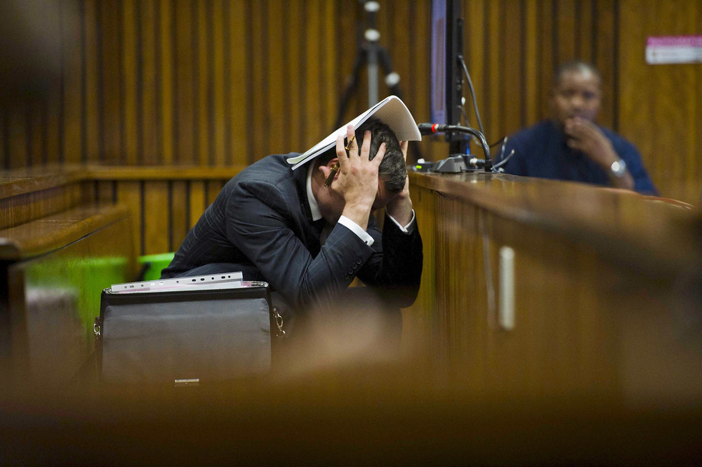 . Oscar Pistorius at the Pretoria High Court on March 13, 2014, in Pretoria, South Africa. Pistorius, stands accused of the murder of his girlfriend, Reeva Steenkamp, on February 14, 2014. This is Oscar Pistorius\' official trial, the result of which will determine the paralympian athlete\'s fate. (Alet Pretorius/Getty Images)