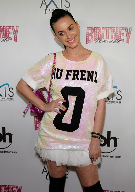 """. LAS VEGAS, NV - DECEMBER 27:  Singer Katy Perry arrives at the grand opening of Britney Spears\' two-year residency \""""Britney: Piece of Me\"""" at Planet Hollywood Resort & Casino on December 27, 2013 in Las Vegas, Nevada.  (Photo by Ethan Miller/Getty Images)"""