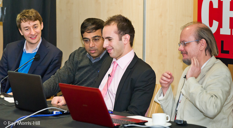 Luke McShane, Viswanathan Anand, Lawrence Trent and Stuart Conquest in the commentary room