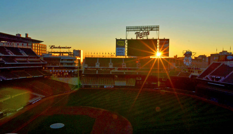. The sun rises over Target Field during a home series against the New York Yankees in the first week of July, 2013. (Pioneer Press: John Autey)