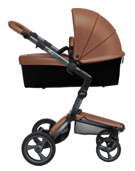 Mima_Xari_Product_Shot_Camel_Flair_Graphite_Chassis_Side_View_Carrycot.png