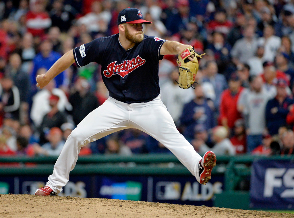 . Cleveland Indians relief pitcher Cody Allen delivers in the ninth inning of Game 5 of baseball\'s American League Division Series against the New York Yankees, Wednesday, Oct. 11, 2017, in Cleveland. (AP Photo/Phil Long)