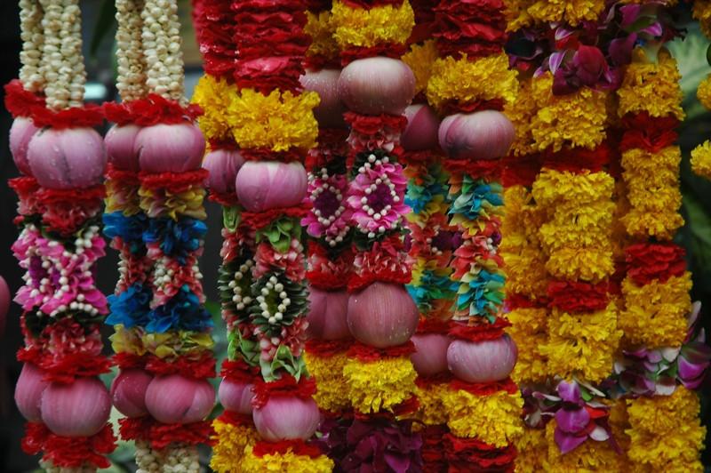 Flower Offerings at Hindu Temple - Bangkok, Thailand