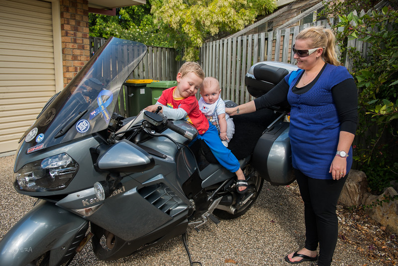 Landon taking Michael for he's first ride on Pa's bike, with Aunty Christine watching over.