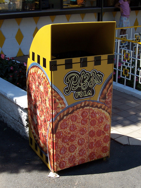 New Pizza Ria themed trash can.