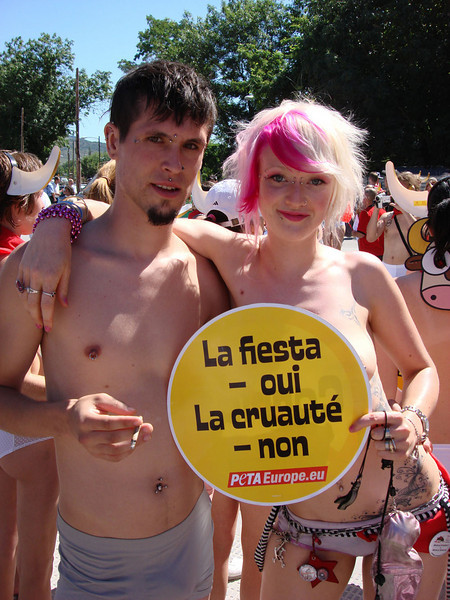 Activists 1 Running of the Nudes Pamplona Spain 2007.jpg