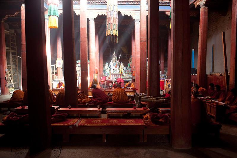 Pre Tiji festival ritual at Thupchen gonpa. Lo Manthang. Mustang, Nepal.
