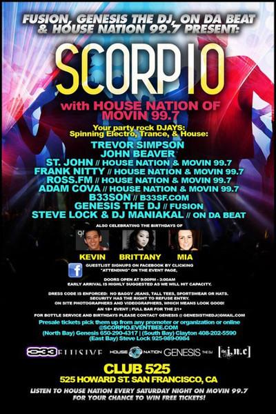 Scorpio @ Club 525 -SF 10.23.10