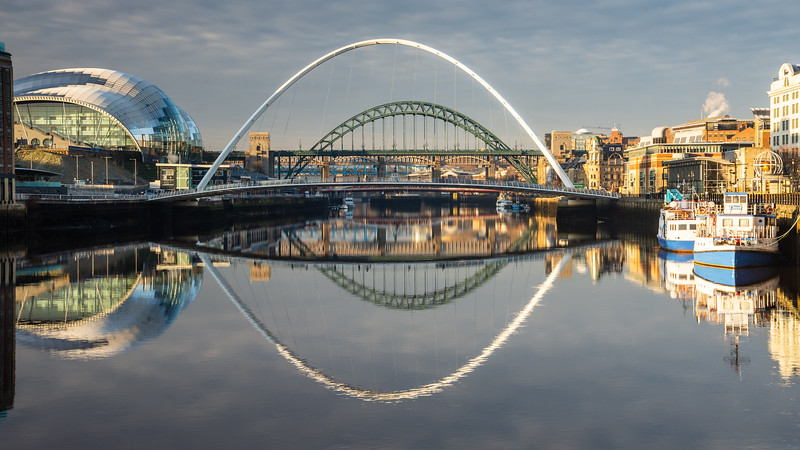 Gateshead Millennium Bridge and quayside