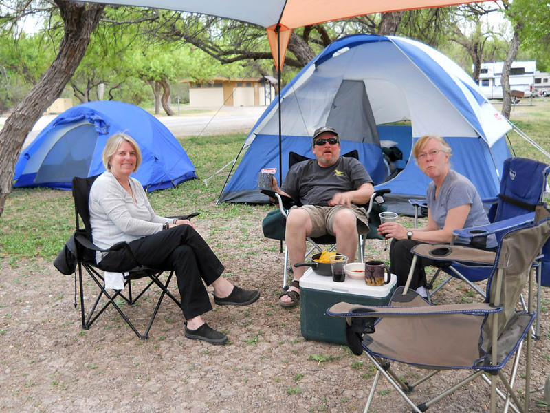 RELAXING IN CAMP See, Mary was right! She has to work at it, though.