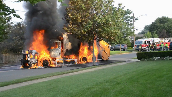 Massapequa F.D. Garbage Truck Fire I/F/O 5 West End Ave. 8/17/12