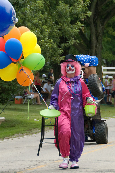 Clown joining the 4th of July Parade in Wisconsin