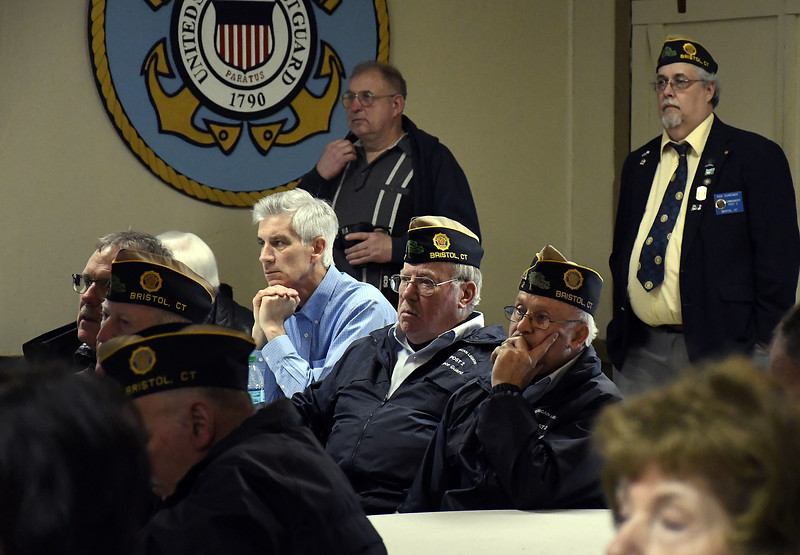 4/19/2018 Mike Orazzi   Staff Bristol veterans listen to Terrence J. Finnegan during a program on the 100 year anniversary of the Battle of Seicheprey held at the American Legion Post 2, which is named after the battle.