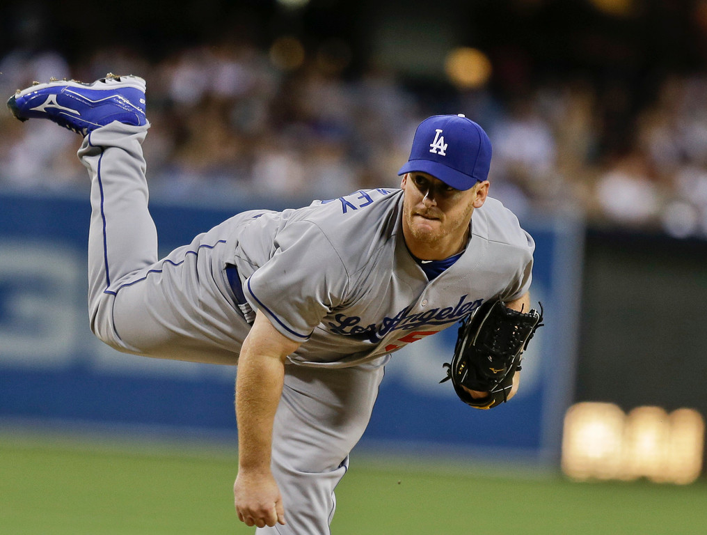 . Los Angeles Dodgers starting pitcher Chad Billingsley against the San Diego Padres during  the first inning of a baseball game in San Diego, Wednesday, April 10, 2013. (AP Photo/Lenny Ignelzi)