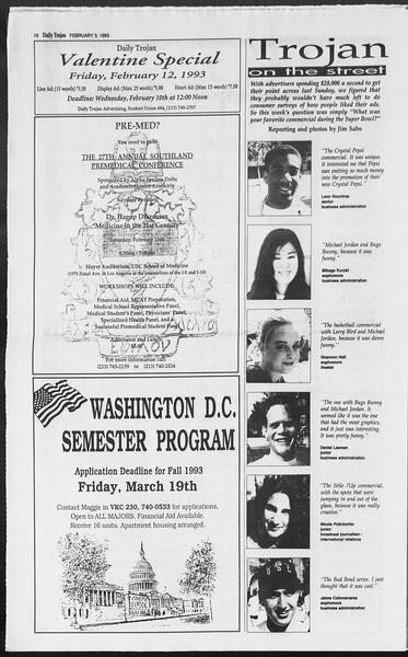 Daily Trojan, Vol. 119, No. 15, February 03, 1993
