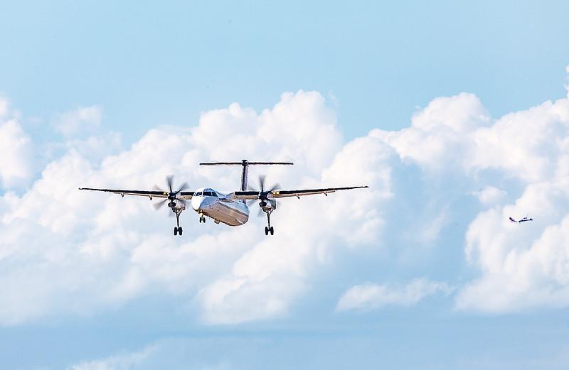 QANTAS De Havilland Dash-8 Q400 VH-LQM returning to Rockhampton Airport after Striking a pelican on take-off.