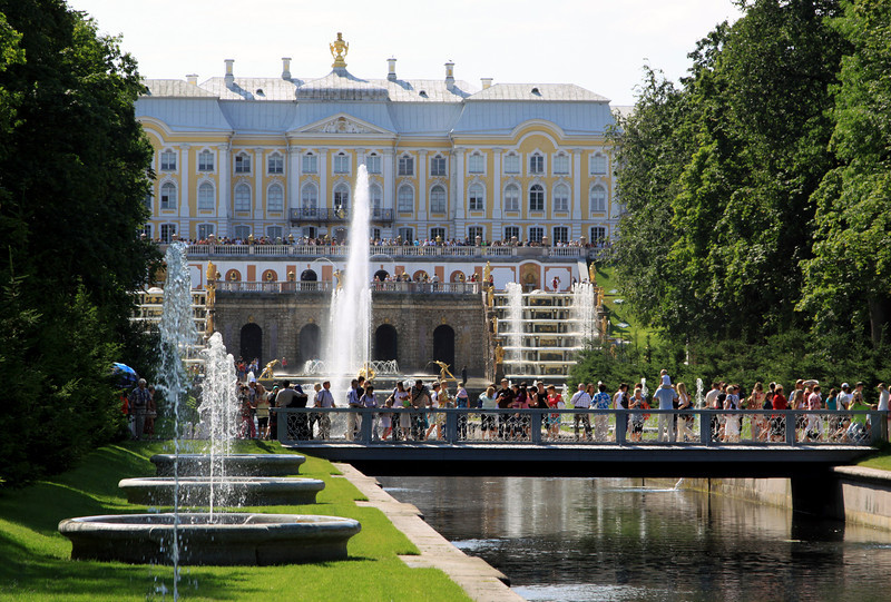 Petrodvorets (or Peterhof) - The Grand Palace and fountains along Marine Canal.