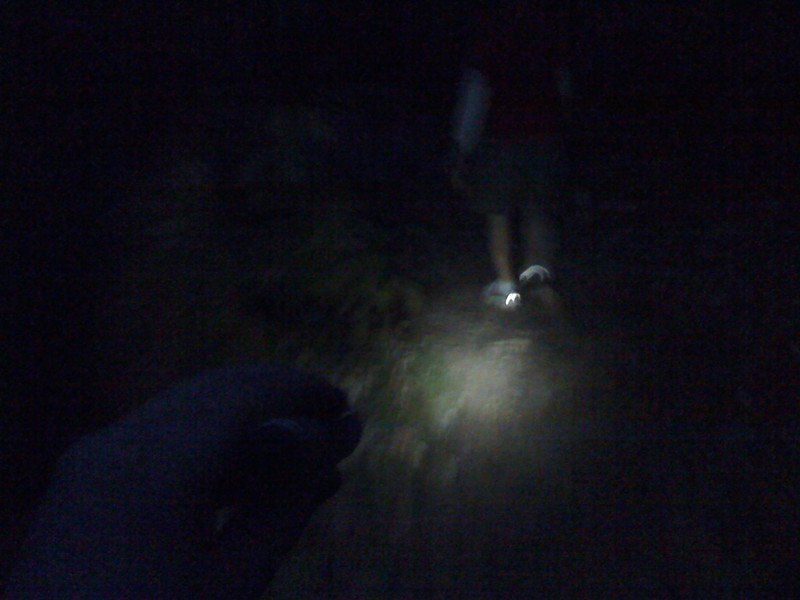 Hiking back to camp, my homemade flashlight gets its first true test. Success!