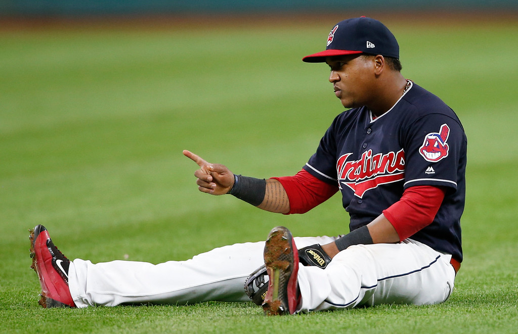 . Cleveland Indians\' Jose Ramirez reacts after throwing out Detroit Tigers\' Ian Kinsler during the ninth inning in a baseball game, Tuesday, Sept. 12, 2017, in Cleveland. The Indians won 2-0 (AP Photo/Ron Schwane)
