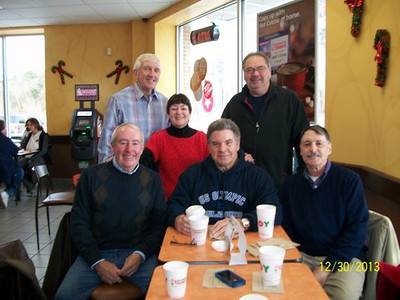 Class of 1963 @ Dunkin Donuts/ Jerry Grady,Bob Gilman,  Lorraine Grady Christedes, Connie Dubuque, Norm Guilbeault, Lee Fortier