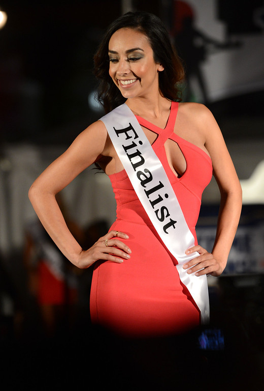 . Long Beach, Calif., -- 04-18-13-  Finalst in the 2013 Tecate Light Miss Toyota Grand Prix of Long Beach  pageant Thursday night on Pine Avenue at the Tecate Light Thunder Thursday on Pine.   Stephen Carr/  Los Angeles Newspaper Group