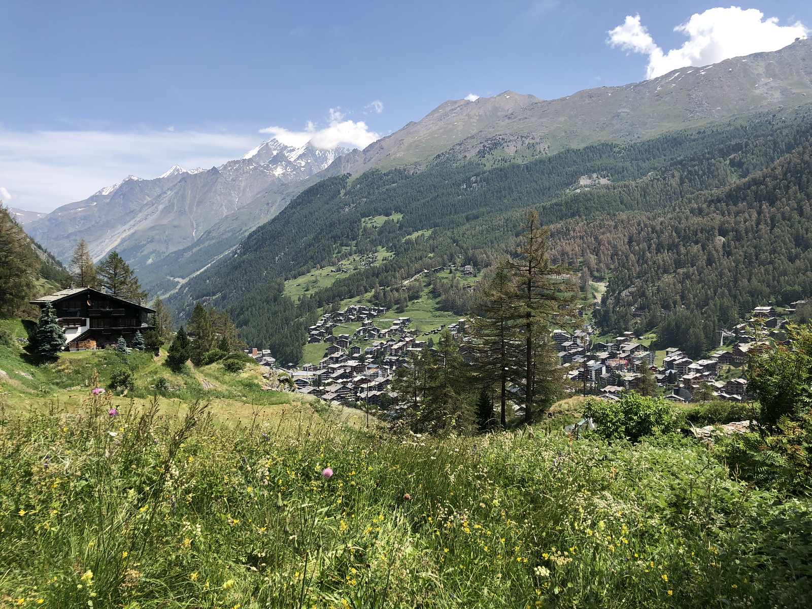 View down to the valley and Zermatt