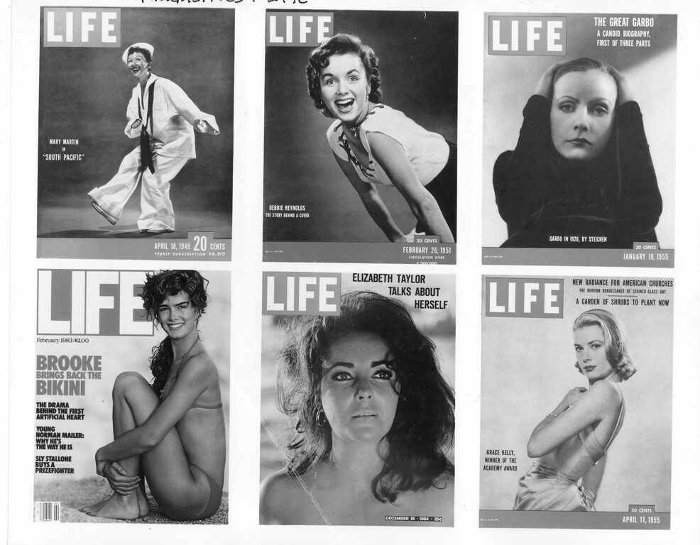 . Various actresses are shown on the cover of Life magazine, top from left to right: Mary Martin, Debbie Reynolds, Greta Garbo.  Bottom, from left to right: Brooke Shields, Elizabeth Taylor, Grace Kelly .  (AP Photo)